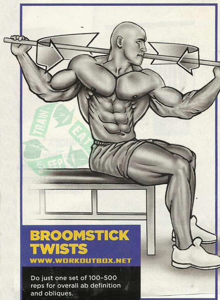 Ab Exercises - Broomstick Twists - Fitness Workouts Gym