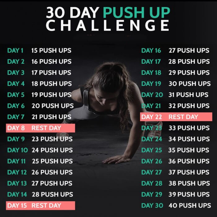 30 Day Push Up Challenge - Fitness Training Chest Arms Workout - Yeah ...
