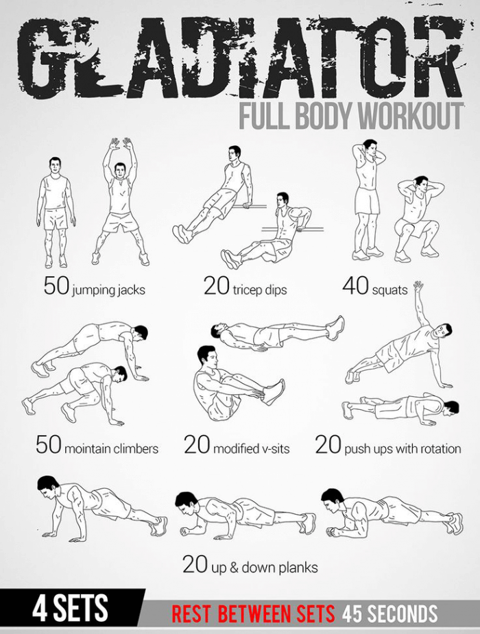 Gladiator Full Body Workout Plan Healthy Fitness Tips Routine